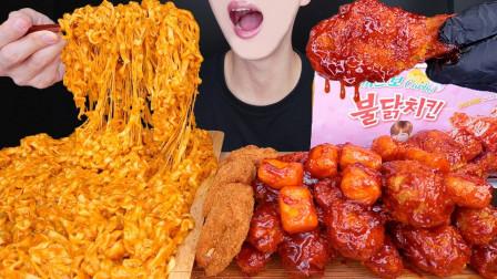 """韩国ASMR吃播:""""新核芝士火鸡面+芝士猪排+炸鸡腿"""",听这咀嚼音,吃得真馋人"""