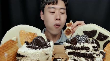 美食吃播:白色巧克力系列,华夫饼,奥利奥,让人垂涎欲滴, 欲罢不能的美味