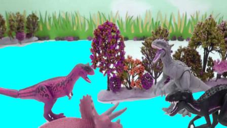 恐龙三角龙食肉龙和暴龙来森林里寻找食物吃