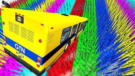 高速汽车能成功飞跃彩色铁刺阵吗?3D动画模拟,场面太刺激!