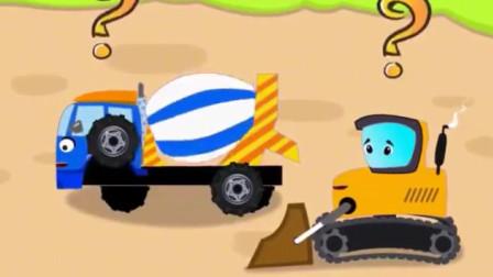 儿童工程车动画 萌萌的水泥搅拌车挖掘机推土机学习数学知识