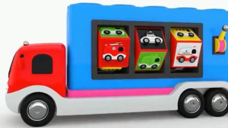 儿童工程车动漫 运输车变出萌萌的消防车警车救护车和警用消防救护环卫飞机