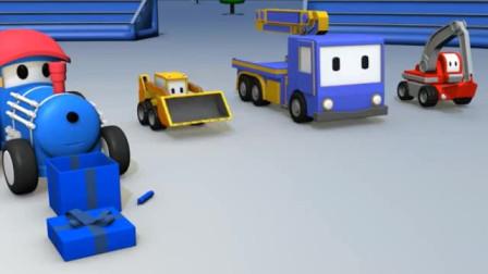 儿童工程车卡通 翻斗车伊森给恐龙戴诺迪娜挖掘机起重机推土机送圣诞礼物