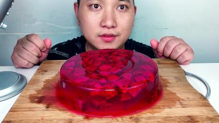 吃火龙果果冻蛋糕,听吧唧吧唧的声音!