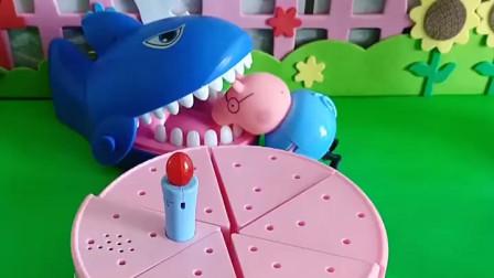 大鲨鱼想要吃蛋糕,还让猪爸爸给做蛋糕,猪爸爸就做了好吃的蛋糕