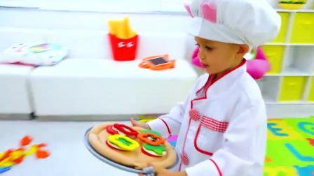 萌娃小可爱化身为小厨师,制作美味的披萨,萌娃:谢谢光临
