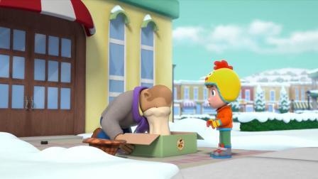 汪汪队:可爱的波特先生,摔了一跤,直接把脸印在了披萨上!