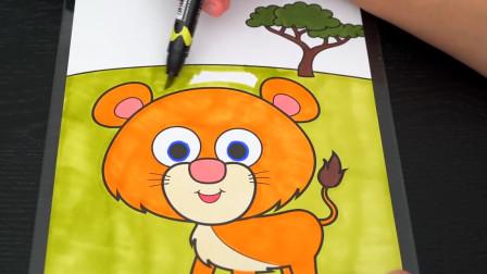 森林中可爱的小狮子卡通漫画涂色游戏