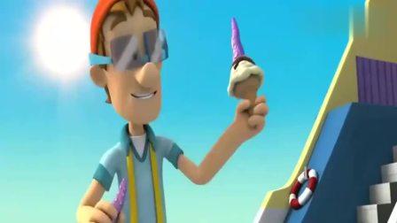 汪汪队立大功:阿宝船长给小海狮吃冰淇淋了,真开心