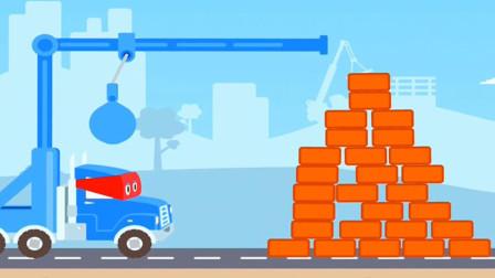 工程车卡尔遇到路障发明了大锤子能行吗?