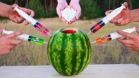 给西瓜注射不同口味的饮料,会发生什么变化?切开一看惊呆了!