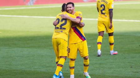西甲巴萨对阵巴拉多利德集锦:梅西献助攻比达尔破门,积分紧追皇马!