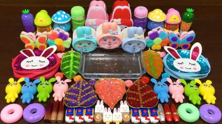 用各种小兔子做无硼砂泥,混入糖果盒化妆品,最后能成功吗?