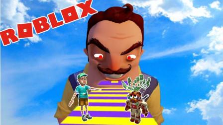 阿火解说roblox虚拟世界:你好邻居家跑酷,这关卡设计的太难了