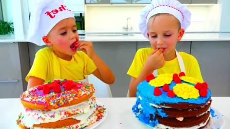 美国儿童时尚,妈妈与弗拉德准备生日蛋糕和惊喜礼物。真厉害