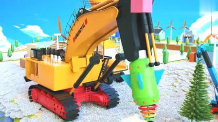 汽车总动员卡通 超级挖掘机和吊车一起布置圣诞树