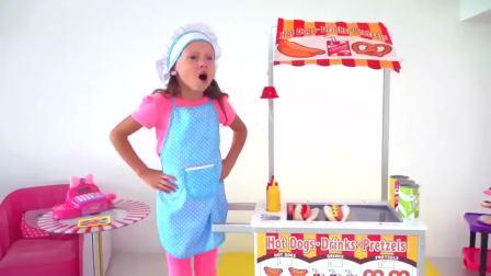 国外少儿时尚,萌宝开了家外卖店各种水果冰淇淋,真有趣呀
