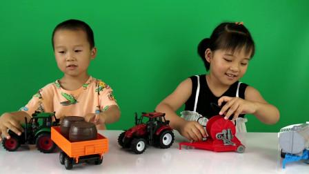 儿童拖拉机玩具车工程车,农夫车汽车农场运输拖车水罐车!