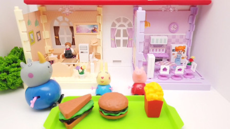 厨房过家家玩具:犀牛先生的快餐店玩具,小兔子和小猪来弛放