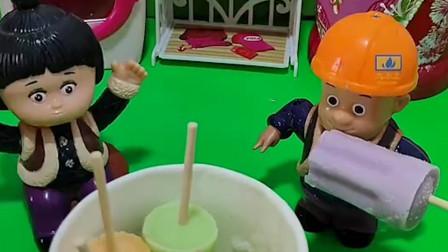 嘟嘟看光头强吃冰激凌,白雪公主帮忙做!