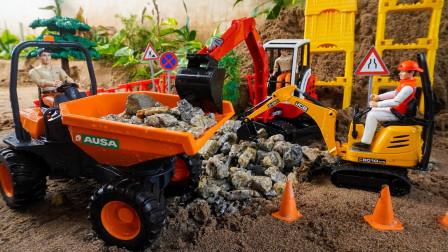 工程车玩具表演:挖掘机挖石子装载翻斗车,压路机推平石子建设桥梁道路!
