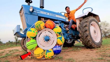 足球做成拖拉机轮胎车还能跑么?老外作死实验,结果肠子都悔青了
