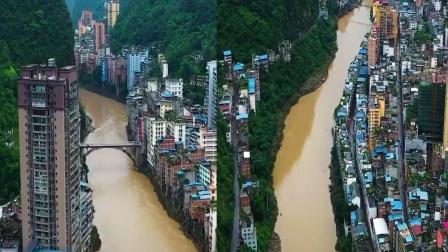 航拍云南最窄的县城盐津, 两边都是临崖绝壁, 网友: 真依水傍山