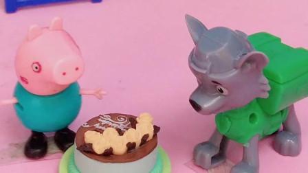 乔治让小狗吃巧克力蛋糕,结果奥特曼说小狗不能吃,奥特曼来帮忙小狗了!