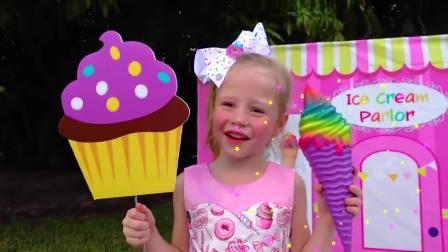 国外儿童时尚,小萝莉过家家玩出新创意,亲自动手制作美味冰淇淋