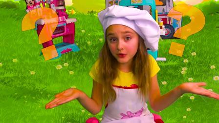 国外儿童时尚,小萝莉跟爸爸户外趣玩一起做美味早餐,真不错呀