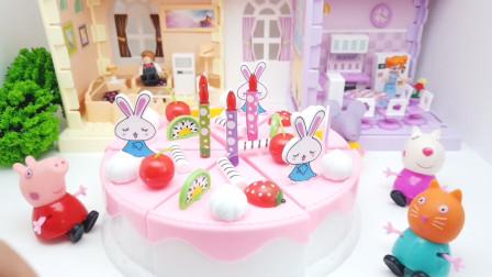 猪小妹过生日,爸爸妈妈准备了一个大蛋糕,让她和好朋友们分享