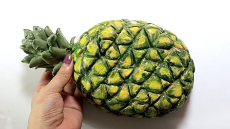 菠萝声控球加上米粒泥,做成超仿真的菠萝炒饭,太有创意了