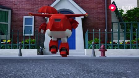 超级飞侠:小女孩玩过家家,乐迪也不亦乐乎,玩具熊却被风刮走!