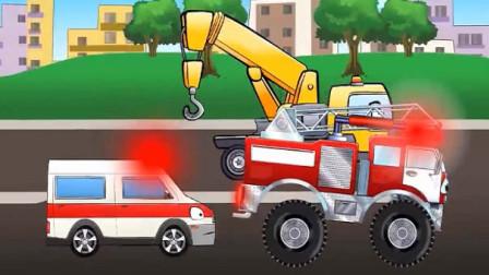 汽车总动员卡通 消防车救火没水了 大脚怪兽车救护车吊车齐帮忙
