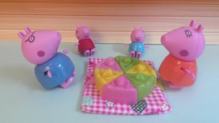小猪佩奇一家出去野餐,他们带了好吃的蛋糕,你们喜欢吃蛋糕吗?