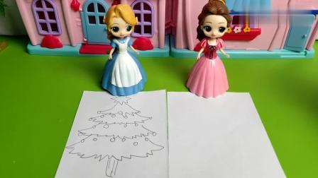贝儿和长发公主谁的圣诞树画得好呢?