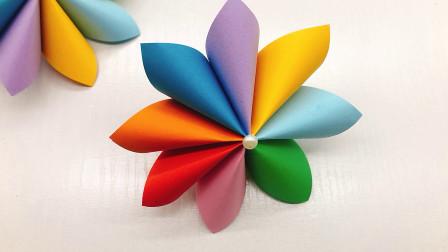创意手工:小姐姐用方形彩纸做彩虹花朵,先做花瓣再组合真漂亮