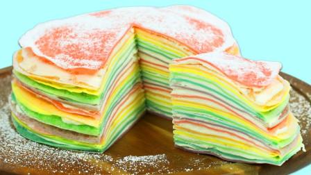 制作美味的彩虹千层奶油蛋糕