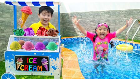 萌宝玩具趣味故事:小正太的冰淇淋车怎么掉进游泳池?小萝莉如何帮忙?