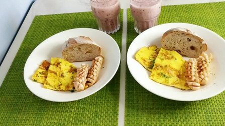 营养早餐第46篇  全麦欧包 花式香肠 凤梨蓝莓汁