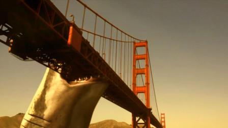巨齿鲨扑通跃出水面,一口咬断了金门大桥,人类遭受灭顶之灾