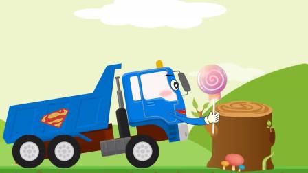 儿童趣味动画工程车,卡车闯关学习颜色水果和数字