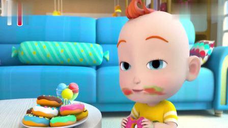 超级宝贝:JOJO真幸福,吃完冰淇淋吃甜甜圈,小嘴巴吃的好脏呀