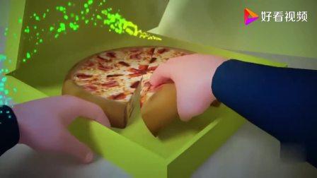 益智早教视频,一家人晚上吃披萨蛋糕棒棒糖,欣赏晚安儿歌!
