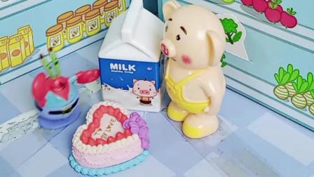 猪小屁去买面包牛奶,小朋友喜欢吃吗?