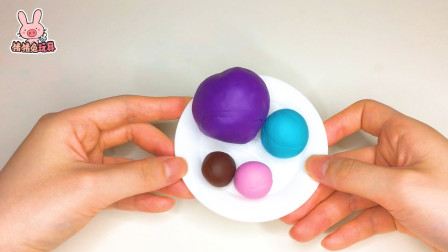 小猪佩奇彩泥:给小猫坎迪DIY蓝莓奶油糖果甜甜圈!