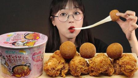 """韩国ASMR吃播:""""新核火鸡面+酥脆炸鸡+芝士球"""",听这咀嚼音,吃货欧尼吃得真馋人"""