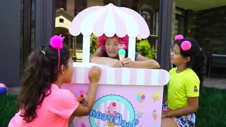 国外儿童时尚,小萝莉和朋友开冰淇淋店,太可爱了