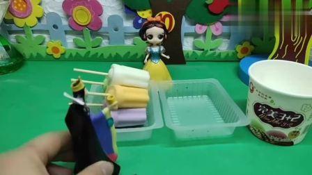 贝儿帮白雪做巧克力脆皮雪糕!