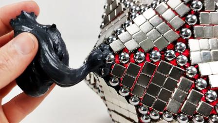 钕磁铁和巴克球强强联手,遇上磁泥会发生什么?一瞬间仿佛活了